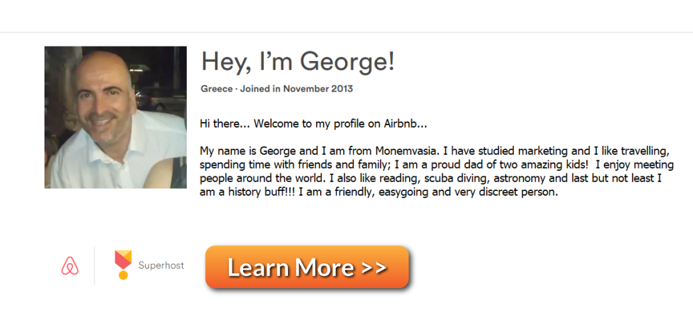 George Kissamitakis Profile AirBNB